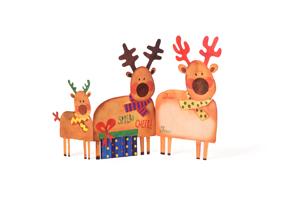Christmas Deer Tri-Fold Notecards